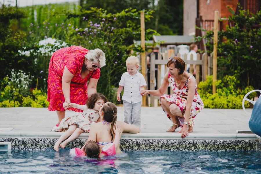 swimming pool wedding photo