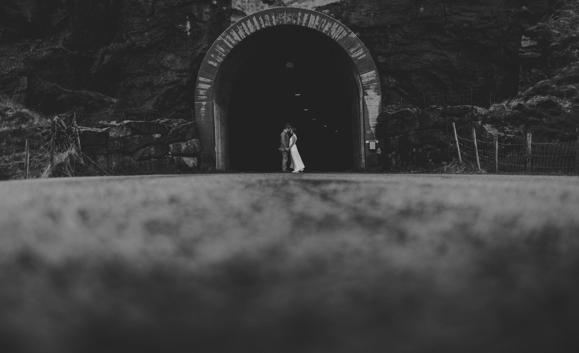 tunnel wedding photo